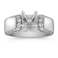 Cathedral Border Diamond Engagement Ring with Pave Setting