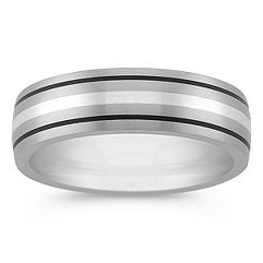Titanium and Sterling Silver Ring (6mm)
