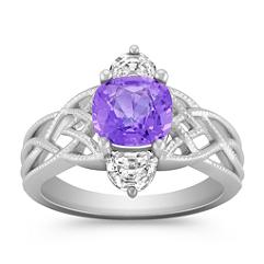Cushion Cut Lavender Sapphire and Half Moon Diamond Ring