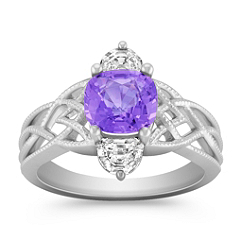 Cushion Cut Lavender Sapphire and Half Moon Diamond Ring