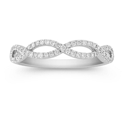 Airy Infinity Diamond Wedding Band with Pave Setting