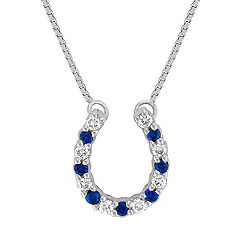 Round Sapphire and Diamond Horseshoe Pendant (18 in.)