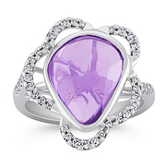 Freeform Lavender Sapphire and Round Diamond Ring
