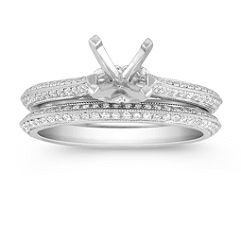 Two Sided Round Diamond Wedding Set