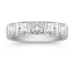 Five Stone Princess Cut Diamond Anniversary Band with Channel Setting