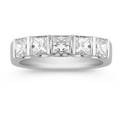 Five Stone Princess Cut Diamond Anniversary Band with Channel Setting