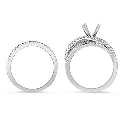 Crossover Diamond Wedding Set with Pavé Setting