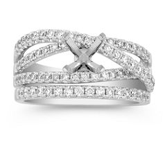 Crossover Diamond Wedding Set with Pave Setting