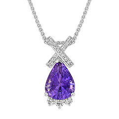 Pear Shaped Lavender Sapphire and Round Diamond Pendant (18 in.)
