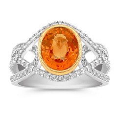 Oval Orange Sapphire and Round Diamond Ring in Two-Tone Gold