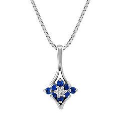 Round Sapphire and Diamond Pendant (18 in.)