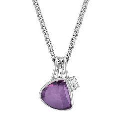 Freeform Lavender Sapphire and Half Moon Diamond Pendant (18 in.)