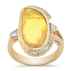 Freeform Yellow Sapphire and Fancy Shape and Round Diamond Ring