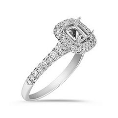 Halo Triple Sided Diamond Engagement Ring with Pavé-Setting