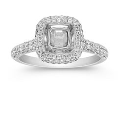 Halo Triple Sided Diamond Engagement Ring with Pave-Setting