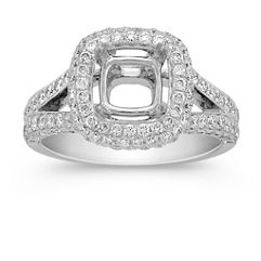 Split Shank Halo Triple Sided Diamond Engagement Ring with Pave-Setting