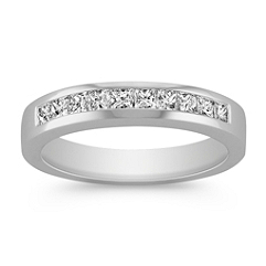 Princess Cut Channel Set Diamond Wedding Band in Platinum