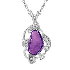 Freeform Lavender Sapphire and Round Diamond Pendant (18 in.)