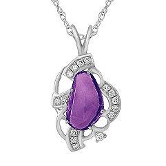 Freeform Lavender Sapphire and Round Diamond Pendant (18 in.)