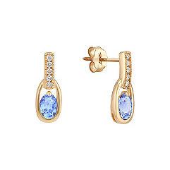 Oval Ice Blue Sapphire and Diamond Earrings
