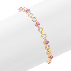 Oval Pink Sapphire and Diamond Bracelet (7.5)