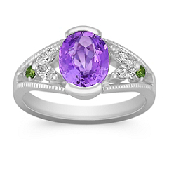 Oval Lavender Sapphire, Round Green Sapphire, and Marquise Diamond Ring