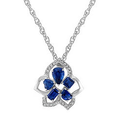 Fancy Shape Sapphire and Diamond Pendant (18 in.)
