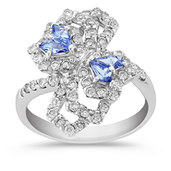 Kite-Shaped Ice Blue Sapphire and Round Diamond Ring