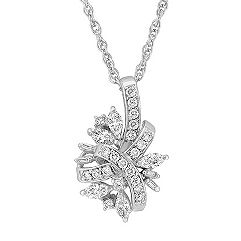 Marquise, Baguette, and Round Diamond Pendant (18 in.)