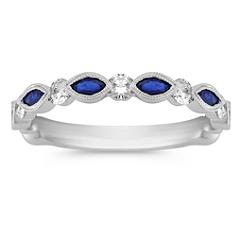 Marquise Sapphire and Round Diamond Wedding Band