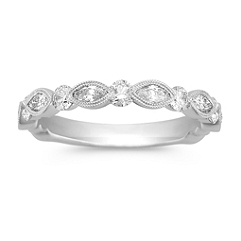 Marquise and Round Diamond Wedding Band