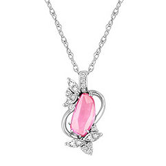 Freeform Pink Sapphire, Marquise and Round Diamond Pendant (18)