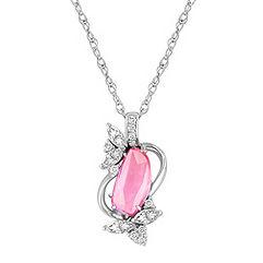 Freeform Pink Sapphire, Marquise and Round Diamond Pendant (18)