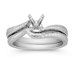 Engraved Swirl Solitaire White Gold Wedding Set