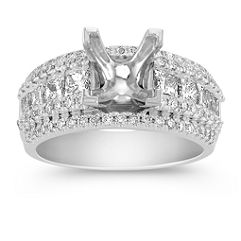 Center Isle Princess Cut and Round Diamond Engagement Ring
