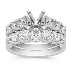 Ample Sized Cathedral Diamond Wedding Set