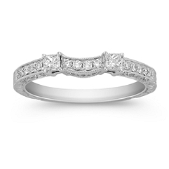 Princess Cut and Round Diamond Contour Wedding Band
