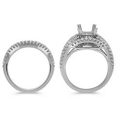 Grand Halo Diamond Platinum Wedding Set with Pavé-Setting