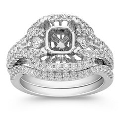 Halo Diamond Platinum Wedding Set with Pave Setting