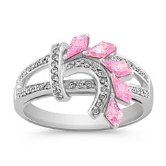 Kite Shaped Pink Sapphire and Round Diamond Ring