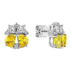 Fancy Shaped Yellow Sapphire, Calla Cut and Round Diamond Earrings