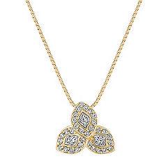 Calla Cut and Round Diamond Pendant (18 in.)