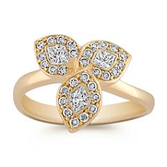 Three Petal Calla Cut and Round Diamond Ring
