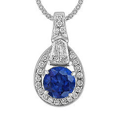 Round Sapphire, Shield Shaped, and Round Diamond Pendant (18 in.)
