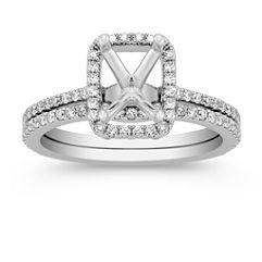 Halo Diamond Wedding Set with Pave setting