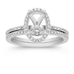 Oval Halo Pave-Set Diamond Wedding Set