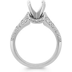 Cathedral Round Diamond Engagement Ring with Channel Setting