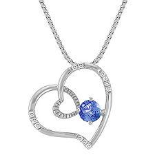 Round Kentucky Sapphire and Diamond Heart Pendant (18 in.)
