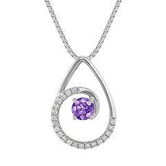 Round Lavender Sapphire and Diamond Pendant (18 in.)
