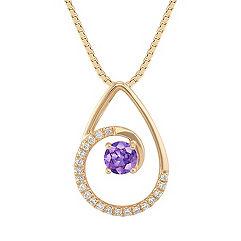 Round Lavender Sapphire and Diamond Pendant (18)